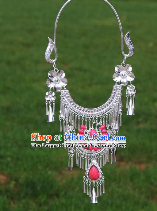 Chinese Ethnic Pink Peacock Necklace Traditional National Jewelry Accessories for Women