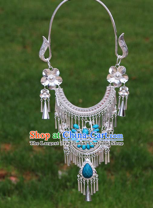 Chinese Ethnic Blue Peacock Necklace Traditional National Jewelry Accessories for Women