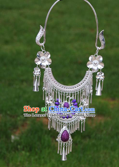 Chinese Ethnic Purple Peacock Necklace Traditional National Jewelry Accessories for Women