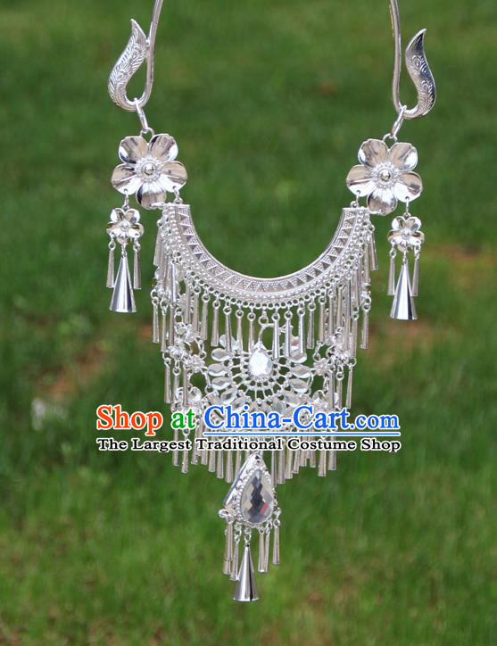 Chinese Ethnic White Peacock Necklace Traditional National Jewelry Accessories for Women