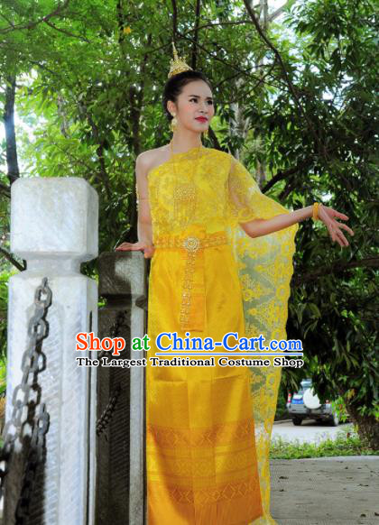 Asian Traditional Thailand Costumes National Handmade Embroidered Yellow Dress for Women