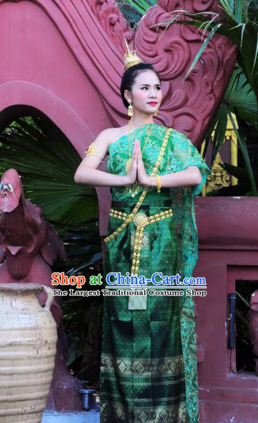 Asian Traditional Thailand Costumes National Handmade Embroidered Green Dress for Women