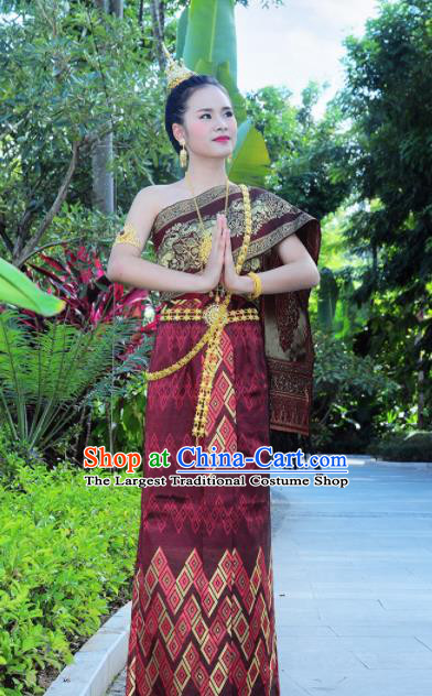 Asian Traditional Thailand Costumes National Handmade Embroidered Wine Red Dress for Women