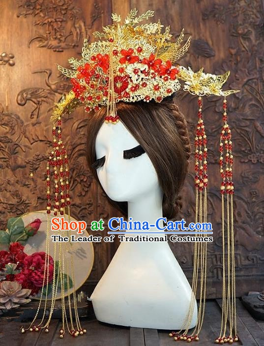 Chinese Handmade Classical Hairpins Hair Accessories Ancient Tassel Phoenix Coronet for Women