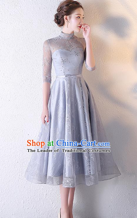 Professional Modern Dance Costume Chorus Group Clothing Bride Toast Grey Dress for Women