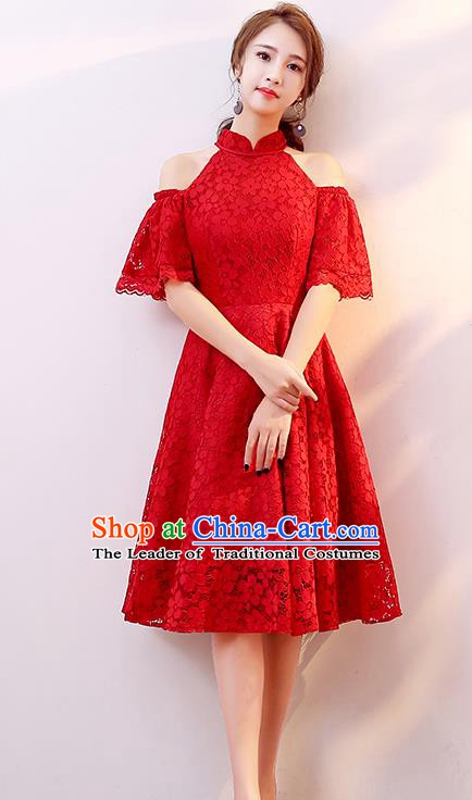 Professional Modern Dance Costume Chorus Group Clothing Bride Toast Red Lace Dress for Women