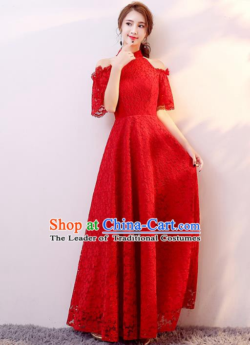Professional Modern Dance Costume Chorus Group Clothing Bride Toast Red Lace Full Dress for Women