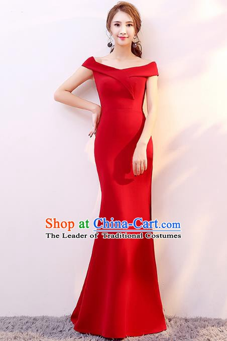 Professional Modern Dance Costume Chorus Group Clothing Bride Toast Red Fishtail Dress for Women