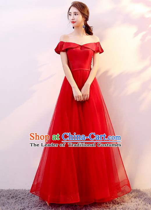 Professional Modern Dance Costume Chorus Group Clothing Bride Toast Red Veil Bubble Dress for Women
