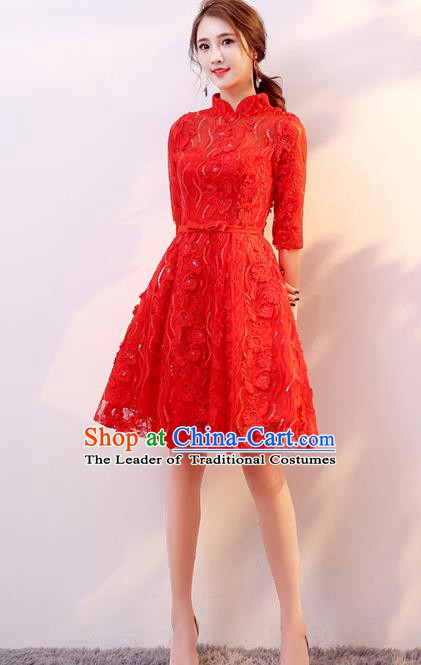 Professional Modern Dance Costume Chorus Group Clothing Bride Toast Red Lace Cheongsam Dress for Women