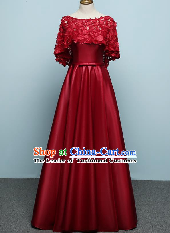 Professional Modern Dance Costume Chorus Group Clothing Bride Toast Wine Red Lace Full Dress for Women