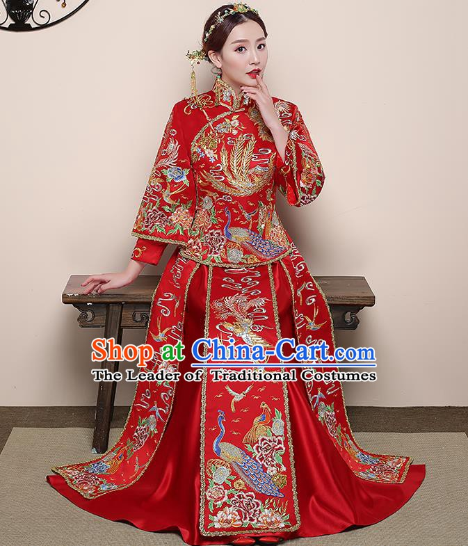 Traditional Chinese Wedding Costume Ancient Bride Delicate Embroidered Red Xiuhe Suit Clothing for Women