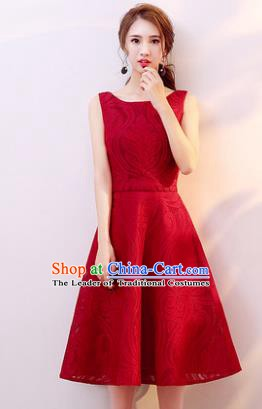Professional Modern Dance Costume Chorus Group Clothing Bride Wine Red Short Full Dress for Women