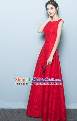 Professional Modern Dance Costume Chorus Group Clothing Bride Red Long Full Dress for Women