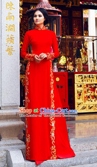 Asian Vietnam Costume Vietnamese Trational Dress Red Ao Dai Cheongsam Clothing for Women