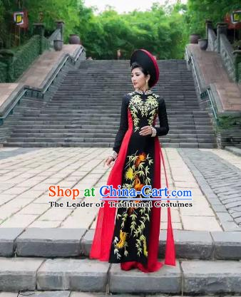 Asian Vietnam Costume Vietnamese Trational Dress Black Ao Dai Cheongsam Clothing for Women