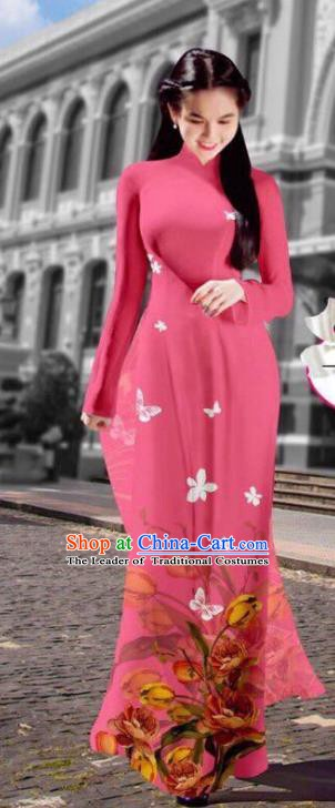 Asian Vietnam Costume Vietnamese Trational Dress Printing Pink Ao Dai Cheongsam Clothing for Women