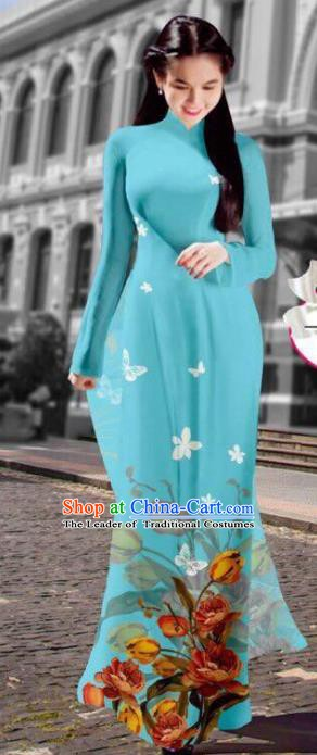 Asian Vietnam Costume Vietnamese Trational Dress Printing Light Blue Ao Dai Cheongsam Clothing for Women