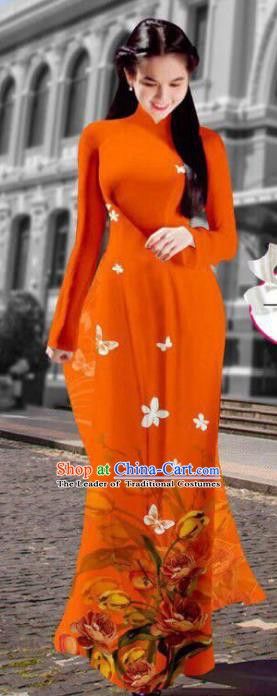 Asian Vietnam Costume Vietnamese Trational Dress Printing Orange Ao Dai Cheongsam Clothing for Women