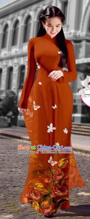 Asian Vietnam Costume Vietnamese Trational Dress Printing Brown Ao Dai Cheongsam Clothing for Women