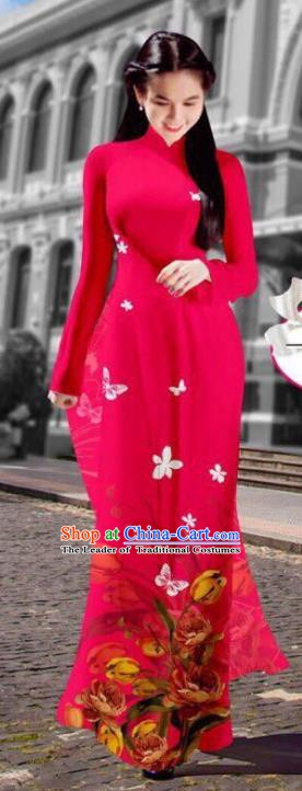 Asian Vietnam Costume Vietnamese Trational Dress Printing Rosy Ao Dai Cheongsam Clothing for Women