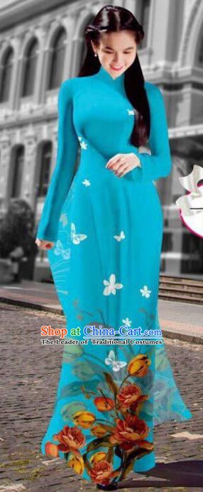 Asian Vietnam Costume Vietnamese Trational Dress Printing Blue Ao Dai Cheongsam Clothing for Women
