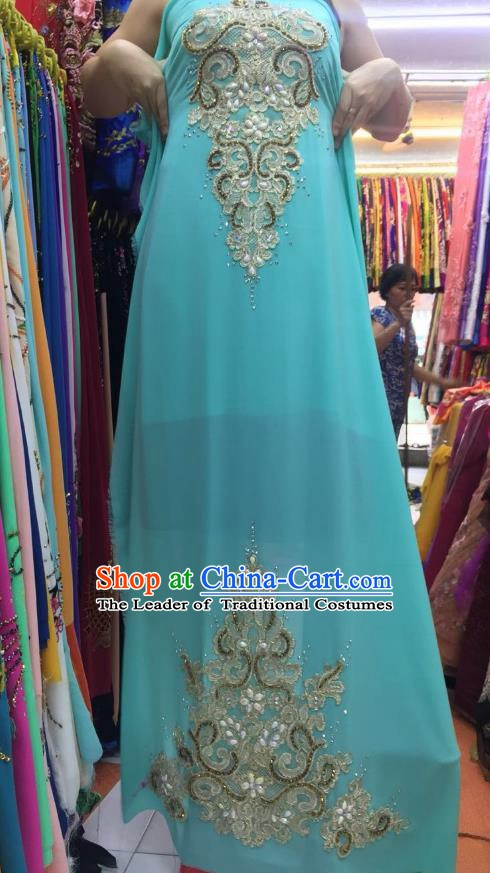 Asian Vietnam Costume Vietnamese Trational Dress Light Blue Embroidered Ao Dai Cheongsam Clothing for Women