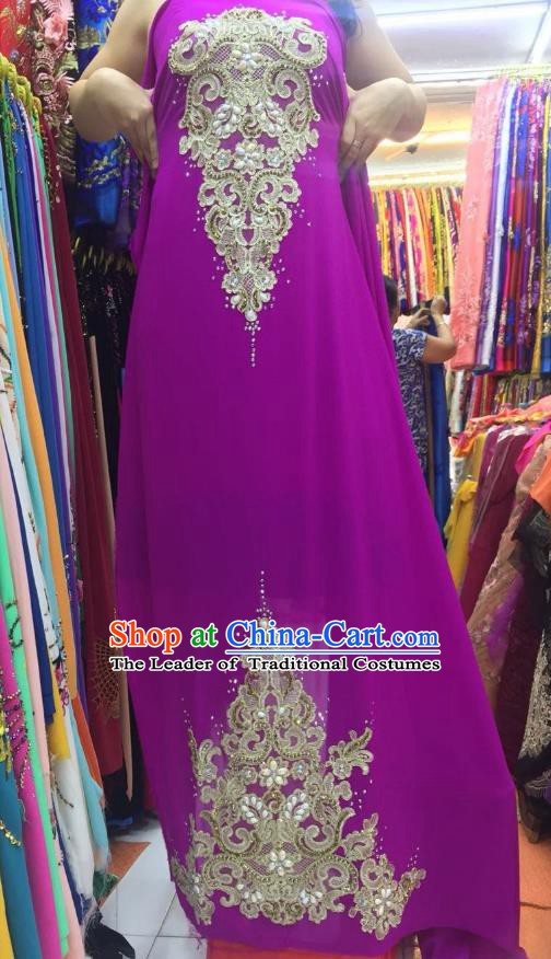 Asian Vietnam Costume Vietnamese Trational Dress Purple Embroidered Ao Dai Cheongsam Clothing for Women