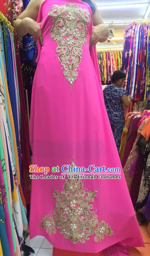 Asian Vietnam Costume Vietnamese Trational Dress Pink Embroidered Ao Dai Cheongsam Clothing for Women