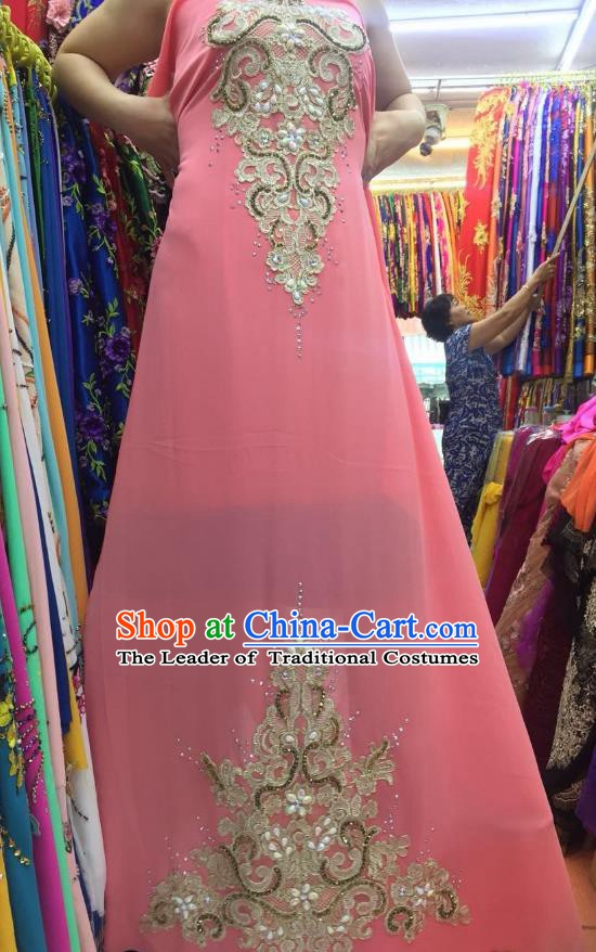 Asian Vietnam Costume Vietnamese Trational Dress Light Pink Embroidered Ao Dai Cheongsam Clothing for Women