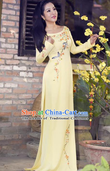 Asian Vietnam Wedding Costume Vietnamese Trational Dress Printing Yellow Ao Dai Cheongsam Clothing for Women