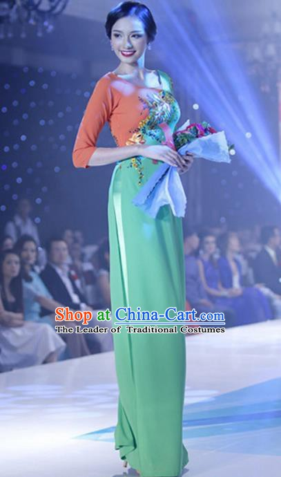 Asian Vietnam Costume Vietnamese Trational Dress Printing Flowers Green Ao Dai Cheongsam Clothing for Women