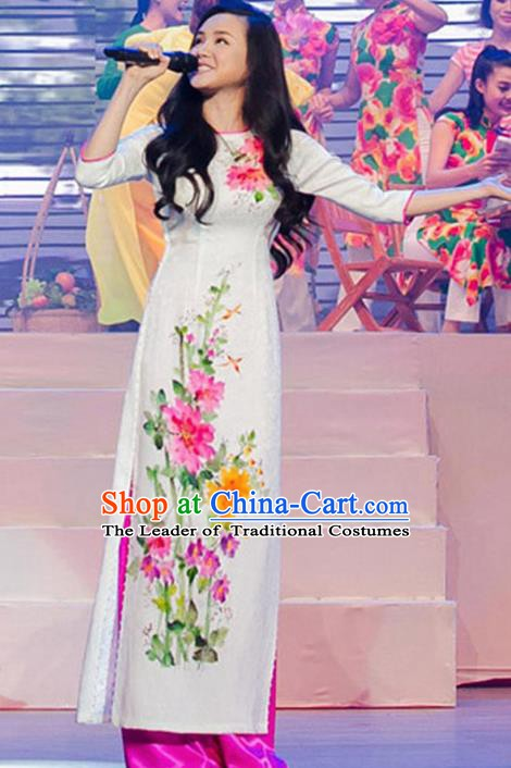 Asian Vietnam Costume Vietnamese Trational Dress Printing Flowers White Ao Dai Cheongsam Clothing for Women