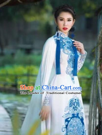 Asian Vietnam Palace Costume Vietnamese Trational Dress White Ao Dai Cheongsam Clothing for Women