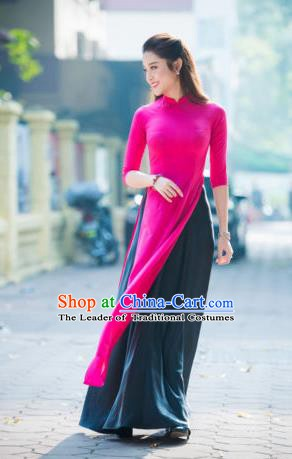 Asian Vietnam Palace Costume Vietnamese Trational Dress Rosy Ao Dai Cheongsam Clothing for Women