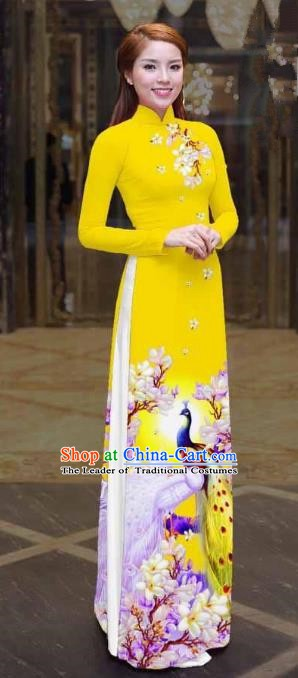 Asian Vietnam Palace Costume Vietnamese Trational Dress Printing Peacock Yellow Ao Dai Cheongsam Clothing for Women