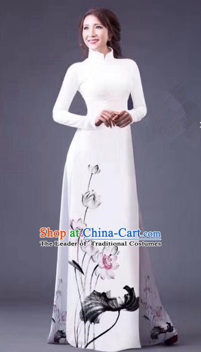 Asian Vietnam Palace Costume Vietnamese Trational Dress Ink Painting Lotus White Ao Dai Cheongsam Clothing for Women
