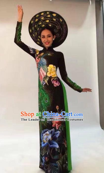 Asian Vietnam Palace Costume Vietnamese Trational Dress Ink Painting Lotus Black Ao Dai Cheongsam Clothing for Women