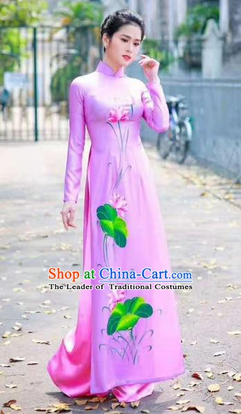 Asian Vietnam Palace Costume Vietnamese Trational Dress Ink Painting Lotus Pink Ao Dai Cheongsam Clothing for Women