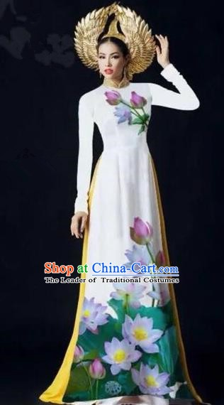 Asian Vietnam Palace Costume Vietnamese Trational Dress Painting Lotus White Ao Dai Cheongsam Clothing for Women