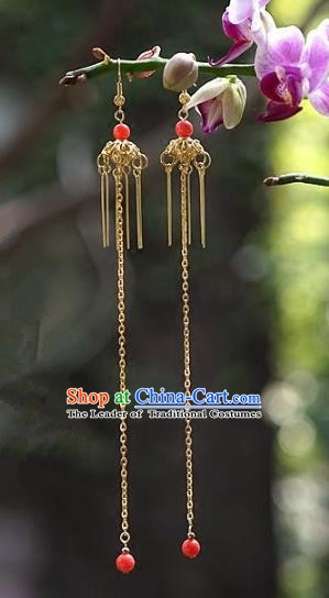 Asian Chinese Traditional Handmade Jewelry Accessories Bride Long Tassel Earrings for Women