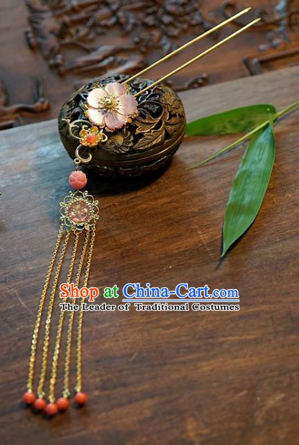Chinese Handmade Classical Tassel Hairpins Hair Clip Hair Accessories Ancient Bride Headwear for Women