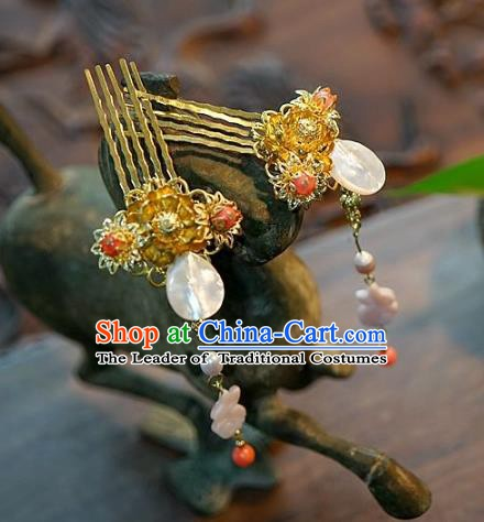 Chinese Handmade Classical Tassel Hairpins Hair Comb Hair Accessories Ancient Bride Headwear for Women