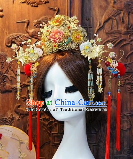 Chinese Handmade Classical Hairpins Tassel Hair Accessories Ancient Bride Phoenix Coronet for Women