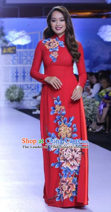 Asian Vietnam Palace Wedding Costume Vietnamese Trational Dress Printing Peony Red Ao Dai Cheongsam Clothing for Women