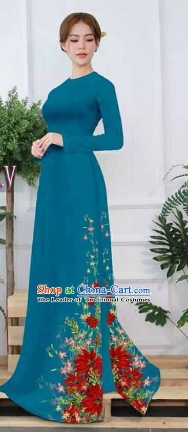 Asian Vietnam Palace Costume Vietnamese Trational Dress Printing Peacock Green Ao Dai Cheongsam Clothing for Women