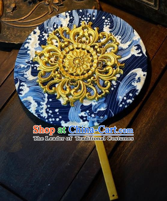 Chinese Handmade Classical Stage Performance Fans Ancient Palace Lady Blue and White Porcelain Round Fans for Women