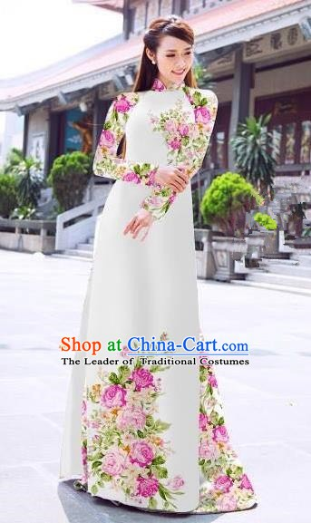 Asian Vietnam Palace Costume Vietnamese Trational Dress Printing White Ao Dai Cheongsam Clothing for Women