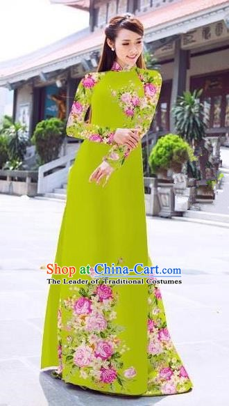 Asian Vietnam Palace Costume Vietnamese Trational Dress Printing Rose Light Green Ao Dai Cheongsam Clothing for Women