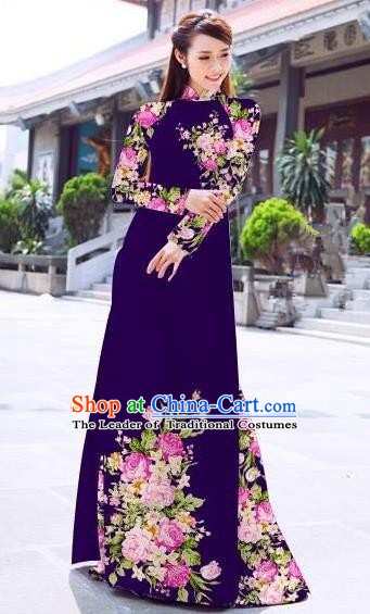Asian Vietnam Palace Costume Vietnamese Trational Dress Printing Rose Deep Purple Ao Dai Cheongsam Clothing for Women